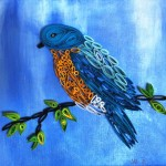 Bird (2015) Paper art on canvas, 31.5cm x 31.5cm
